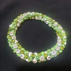 3-Tone Green Bedazzled Gem Stretchy Band Bracelet